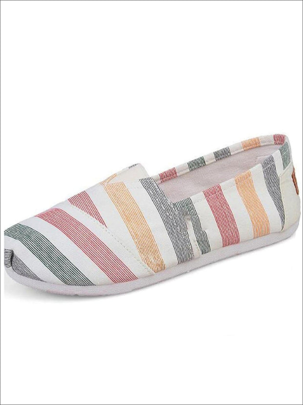 Womens Fashion Striped Canvas Shoes By Liv and Mia - Multicolor / 5.5 - Womens Flats