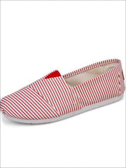 Womens Fashion Striped Canvas Shoes By Liv and Mia - Red / 5.5 - Womens Flats