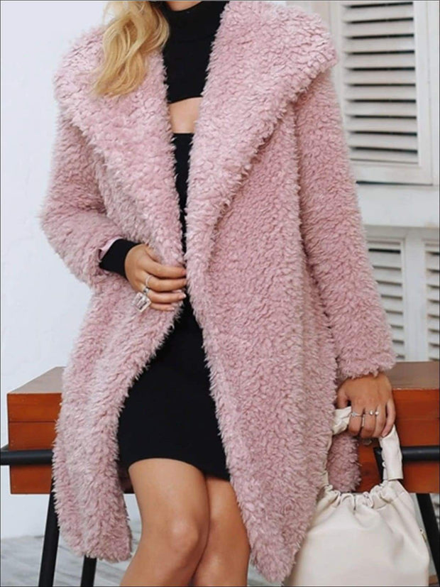 Womens Fashion Turn-Down Collar Faux Fur Coat - Womens Fall Outerwear