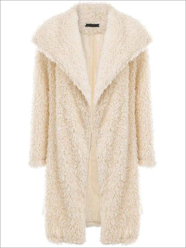 Womens Fashion Turn-Down Collar Faux Fur Coat - Beige / S - Womens Fall Outerwear