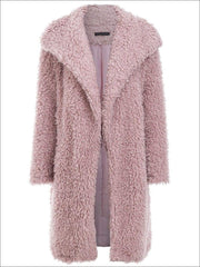 Womens Fashion Turn-Down Collar Faux Fur Coat - Pink / S - Womens Fall Outerwear