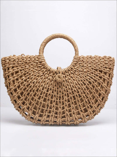 Womens Fashion Wicker Retro Beach Handbag - Brown - Womens Accessories