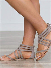 Womens Fashion Zip Back Gladiator Sandals - Womens Sandals