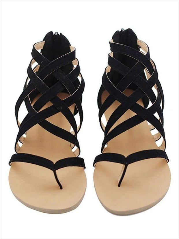 Womens Fashion Zip Back Gladiator Sandals - black / 4.5 - Womens Sandals