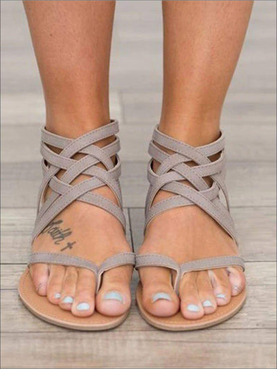 Womens Fashion Zip Back Gladiator Sandals - gray / 4.5 - Womens Sandals