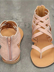 Womens Fashion Zip Back Gladiator Sandals - pink / 4.5 - Womens Sandals