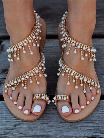 Womens Faux Pearl Crystal Embellished Greek Sandals - Brown / 5 - Womens Sandals