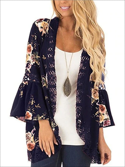 Womens Flare Sleeve Floral Kimono With Embroidery Detail - Womens Outerwear