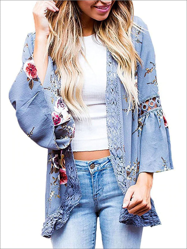 Womens Flare Sleeve Floral Kimono With Embroidery Detail - Blue / S - Womens Outerwear