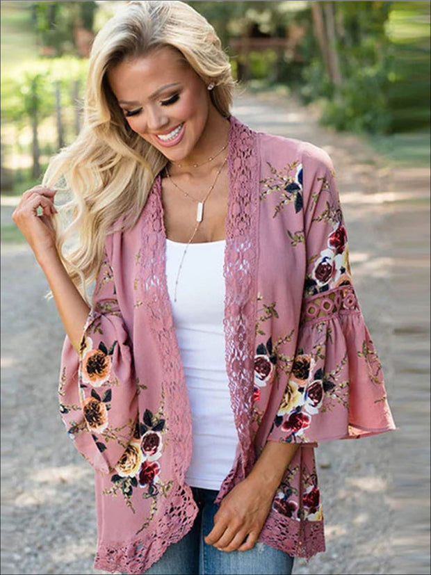 Womens Flare Sleeve Floral Kimono With Embroidery Detail - Pink / S - Womens Outerwear