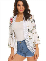 Womens Flare Sleeve Floral Kimono With Embroidery Detail - White / S - Womens Outerwear