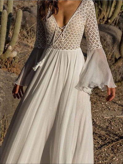 Womens Flare Sleeve Lace Up Chiffon Maxi Dress - White / One - Womens Dresses