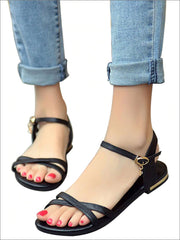 Womens Flat Chic Buckle Strap Sandals - Womens Sandals