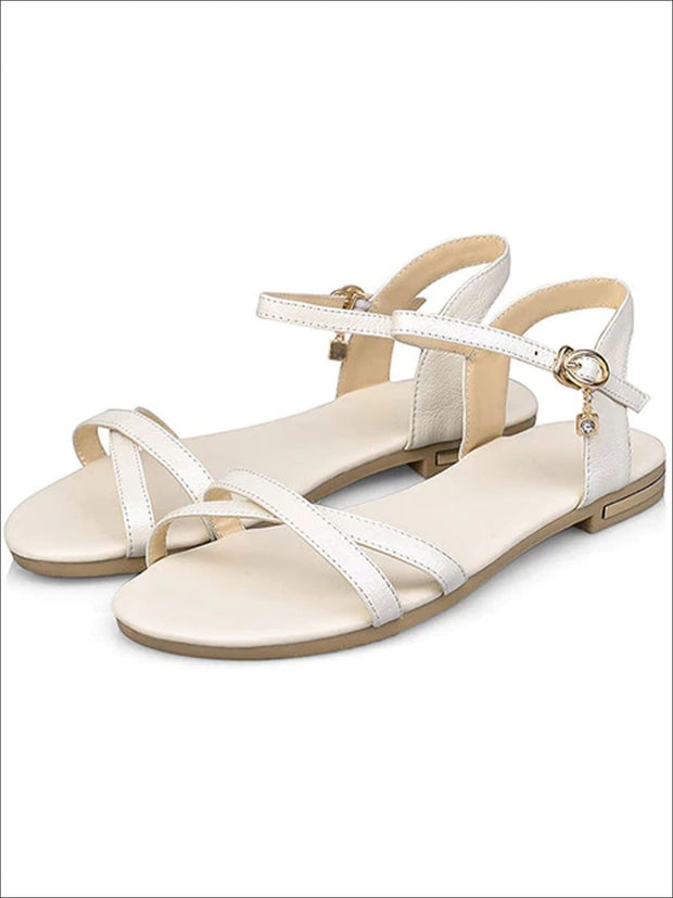 Womens Flat Chic Buckle Strap Sandals - Beige / 3 - Womens Sandals