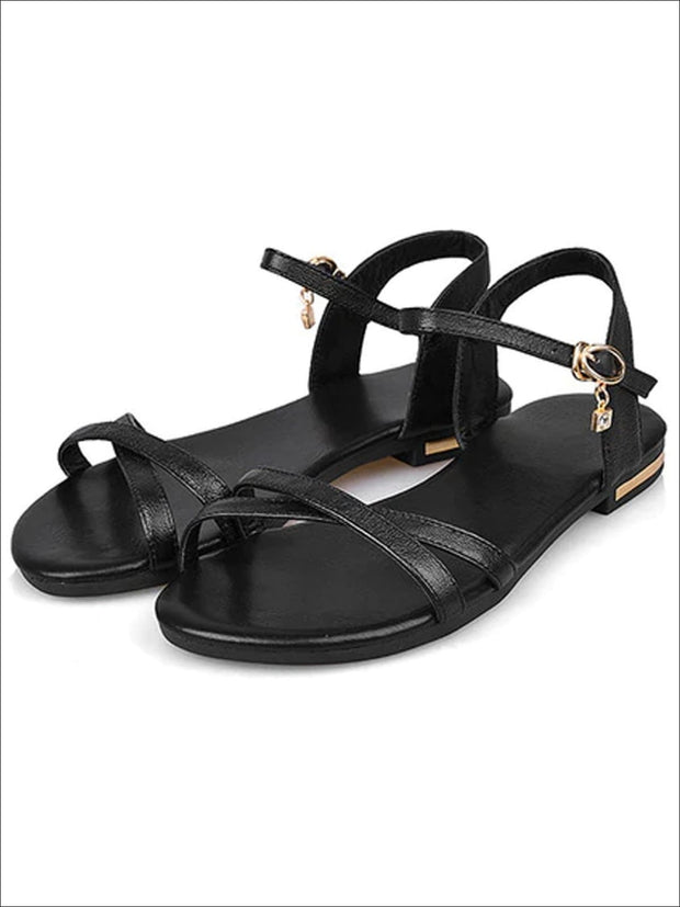 Womens Flat Chic Buckle Strap Sandals - Black / 3 - Womens Sandals