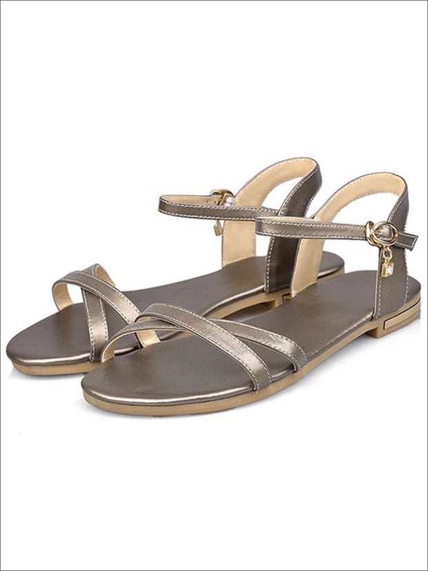 Womens Flat Chic Buckle Strap Sandals - Gold / 3 - Womens Sandals