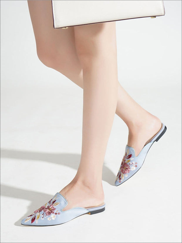 Womens Floral Embroidered Pointed Mules - Womens Shoes