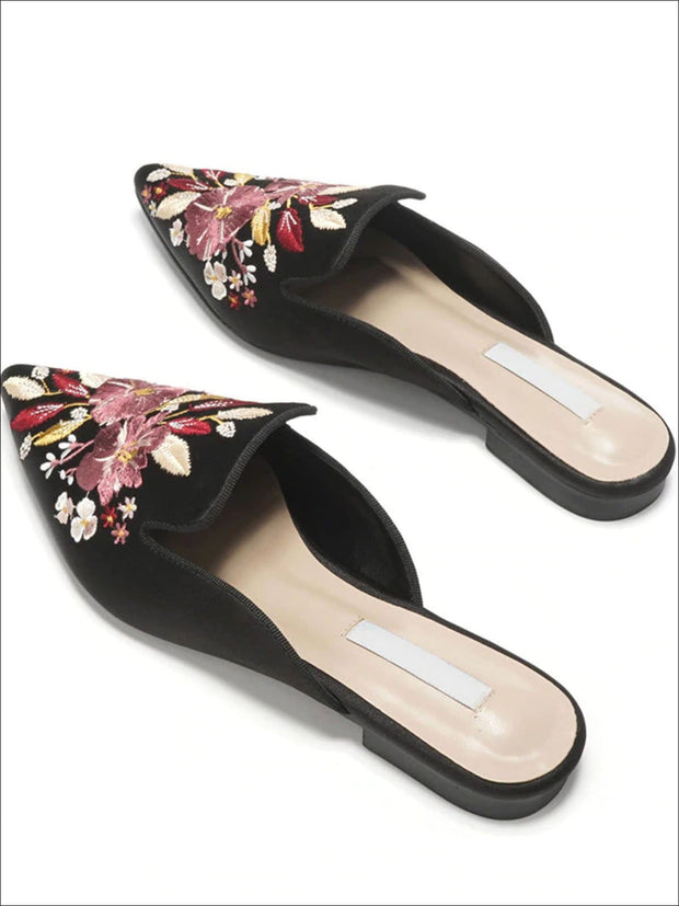 Womens Floral Embroidered Pointed Mules - Black / 5 - Womens Shoes
