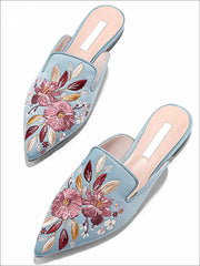 Womens Floral Embroidered Pointed Mules - Blue / 5 - Womens Shoes