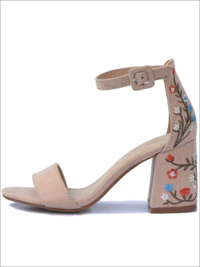 Womens Floral Embroidered Square Heel Fashion Sandals - Womens Sandals