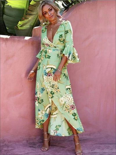 Womens Floral Flare Sleeve Hi-Lo Wrap Dress - Green / S - Womens Dresses