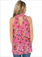 Womens Floral Halter Tunic Blouse With Cut Out Back Detail - Womens Tops