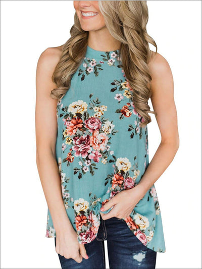 Womens Floral Halter Tunic Blouse With Cut Out Back Detail - Green / S - Womens Tops