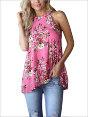 Womens Floral Halter Tunic Blouse With Cut Out Back Detail - Pink / S - Womens Tops