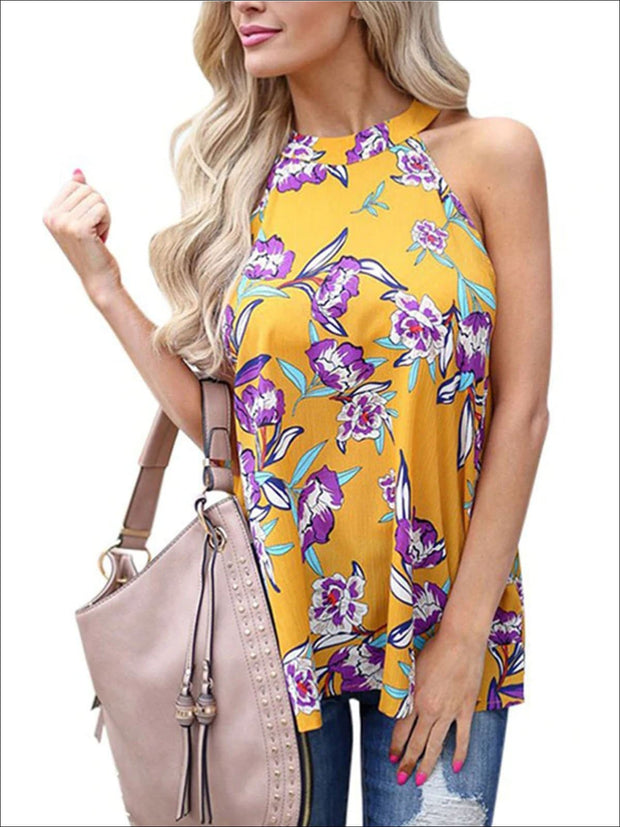 Womens Floral Halter Tunic Blouse With Cut Out Back Detail - Yellow / S - Womens Tops