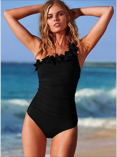 Womens Floral One Shoulder One Piece Swimsuit - Womens Swimsuit