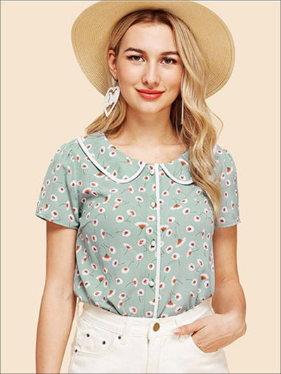 Womens Floral Peter Pan Collar Vintage Blouse - Green / XS - Womens Tops