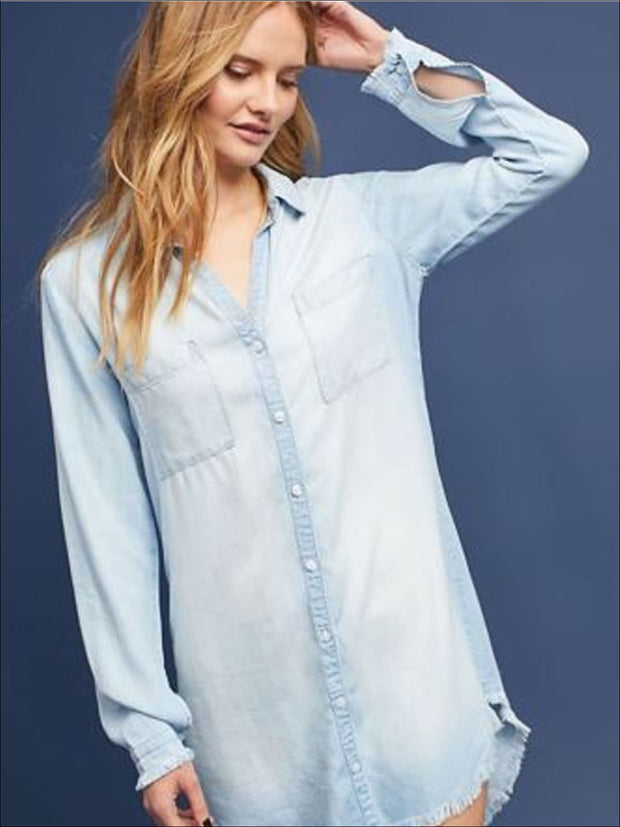 Womens Frayed Hem Denim Tunic - Womens Tops