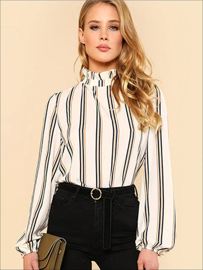 Womens Frill Neck Pullover Striped Blouse - White / XS - Womens Tops