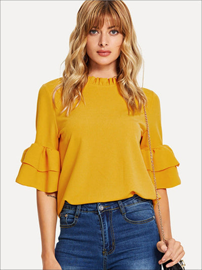 Womens Frill Neck Ruffled Sleeve Blouse - Yellow / XS - Womens Tops