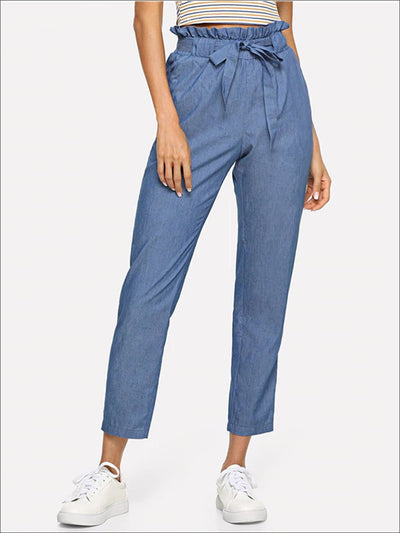 Womens Frilly Mid Waist Belted Trousers - Blue / XS - Womens Bottoms