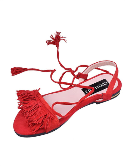 Womens Fringe Lace Up Flat Sandals - Red / 4 - Womens Sandals