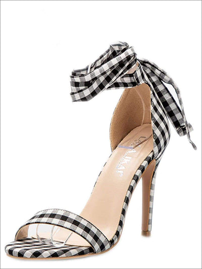 Womens Gingham Ankle Strap Open Toe Sandals - Womens Sandals
