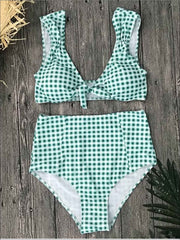 Womens Gingham High Waist Retro Two Piece Swimsuit - Green / S - Womens Swimsuit