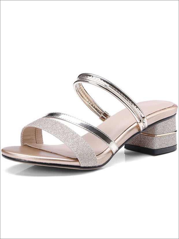 Womens Glitter Slip On Block Heel Sandals - Silver / 3 - Womens Sandals