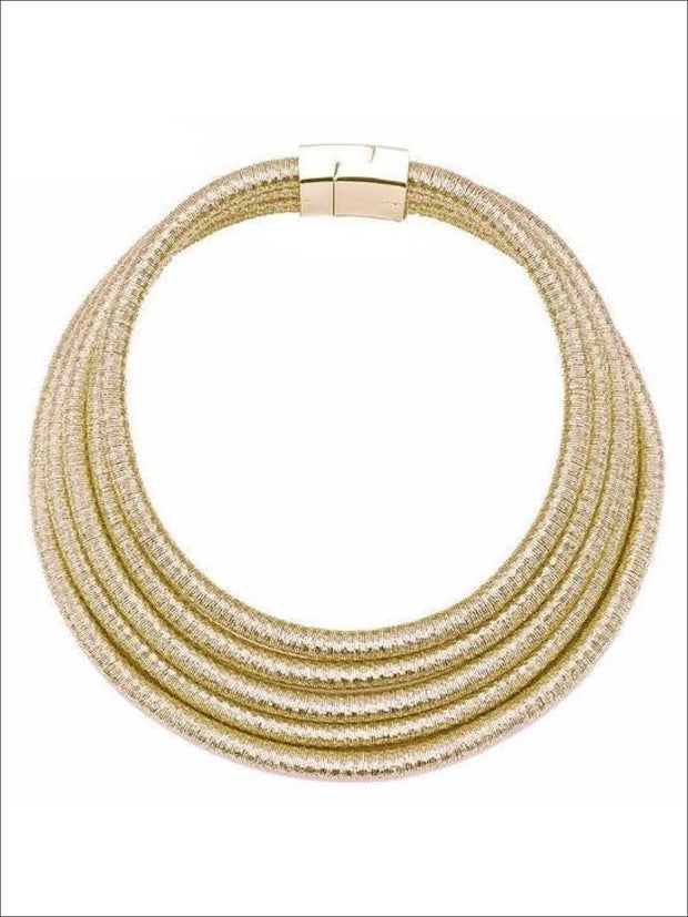 Womens Gold Layered Cleopatra Choker Necklace - Gold - Accessories