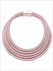 Womens Gold Layered Cleopatra Choker Necklace - Rose Gold - Accessories