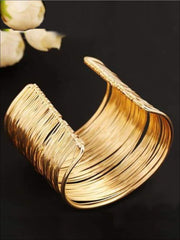 Womens Gold Wire Cuff Bracelet - Accessories