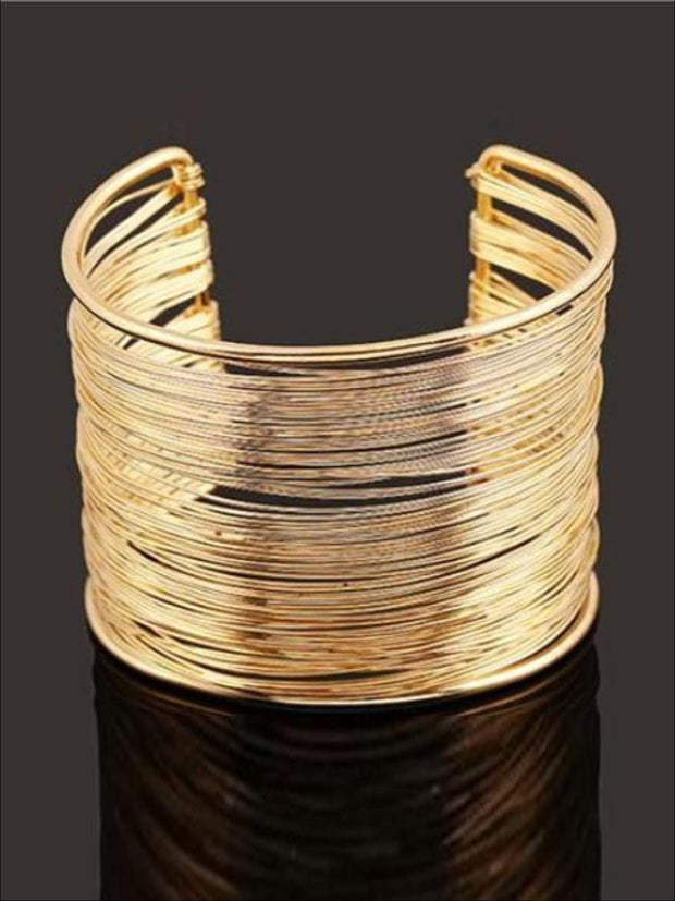 Womens Gold Wire Cuff Bracelet - Gold - Accessories