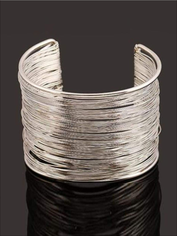 Womens Gold Wire Cuff Bracelet - Silver - Accessories