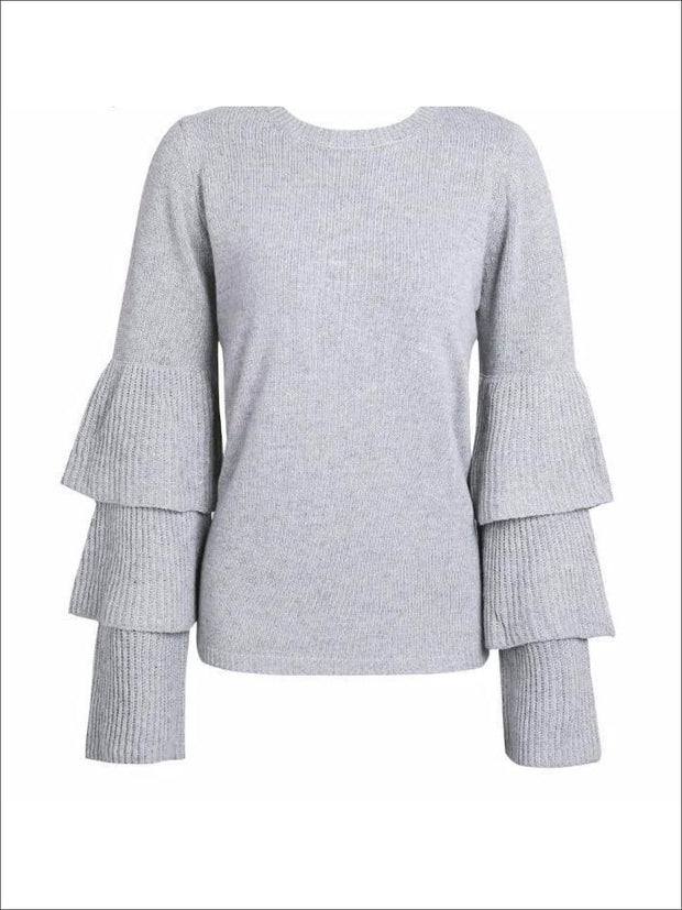 Womens Gray One Size Flare Sleeves Sweater - Womens Fall Sweaters