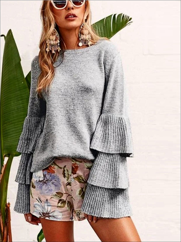 Womens Gray One Size Flare Sleeves Sweater - Womens Sweater
