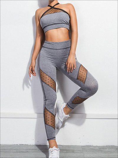Womens Grey Dotted Mesh Two Piece Activewear Set - S / Grey - Womens Activewear