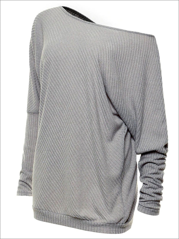 Womens Grey Off Shoulder Soft Ribbed Tunic - Womens Tops