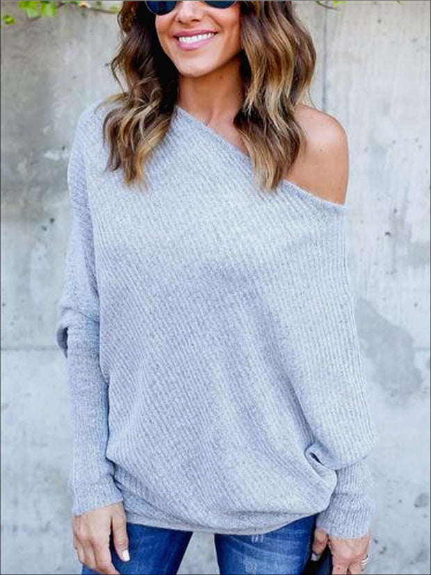 Womens Grey Off Shoulder Soft Ribbed Tunic - Grey / S - Womens Tops