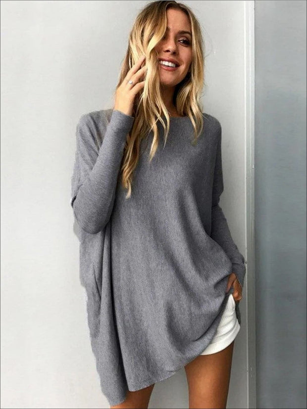 Womens Grey Oversized Long Sleeve Tunic - Womens Tops